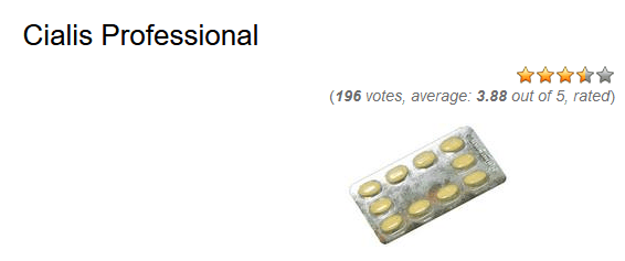 According to average vote for the drug Cialis Professional 20 mg at one online pharmacy, the drug scored almost 4 out of 5 stars (3
