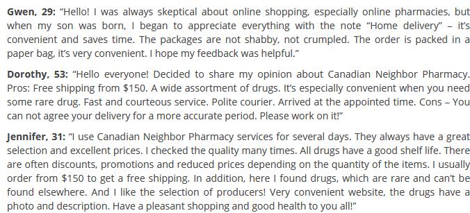 Canadian Neighbor Pharmacy customer reviews