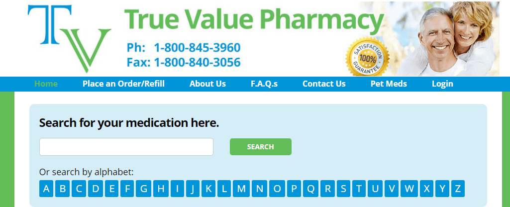 True Value Pharmacy – Simple but Very Organized Pharmacy Website