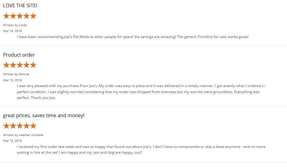 Joes Pet Med customer reviews