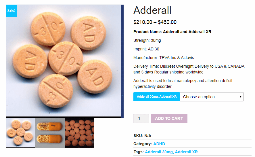 An Example of a Vendors Page for Adderall