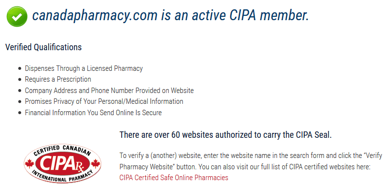 Canada Pharmacy Result from CIPA Rx Website